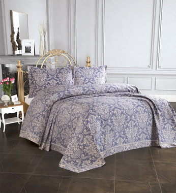 Покрывало Tropik Home Pandora Damask Navy Blue 1229-3, 240х260 см., 50х70 см., 2