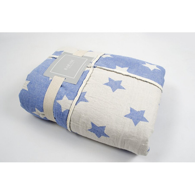 Плед мікроплюш Barine - Star Patchwork throw blue блакитний, 130х170 см.